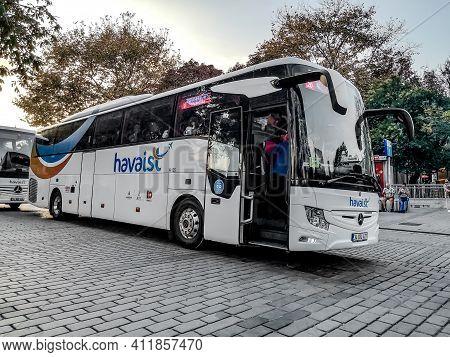 Istanbul, Turkey - October 29, 2019: Havaist Bus At Sultanahmet Square In Istanbul. Public Transport