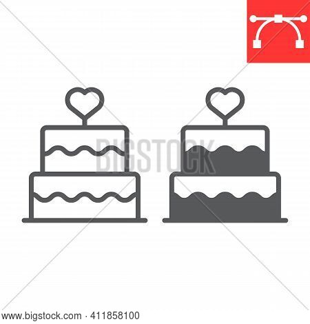 Stacked Wedding Cake With Heart Line And Glyph Icon, Dessert And Bakery, Love Cake Vector Icon, Vect