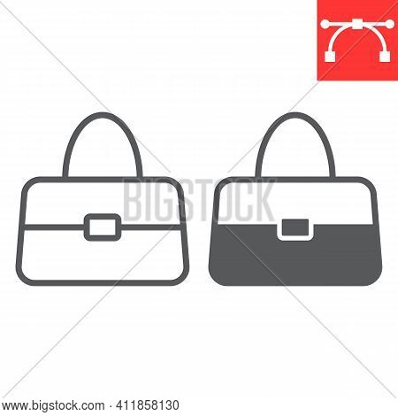 Handbag Line And Glyph Icon, Accessory And Glamour, Women Bag Vector Icon, Vector Graphics, Editable