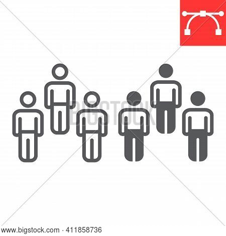 Herd Immunity Line And Glyph Icon, Social And Community, People Vector Icon, Vector Graphics, Editab