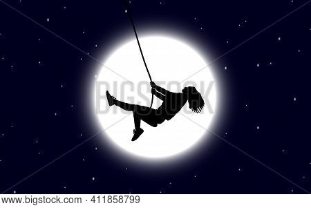 Vector Illustration Image Of A Black Silhouette Of A Girl With Loose Hair Swinging On A Swing Agains