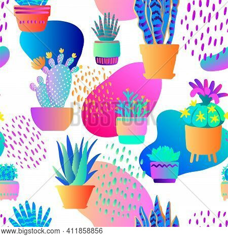 Pattern Vector Neon Tropical Fern. Purple, Pink And Blue Monstera Leaves Plants On A White Backgroun