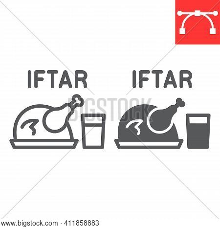 Iftar Line And Glyph Icon, Happy Ramadan And Religion, Chicken Food With Water Vector Icon, Vector G