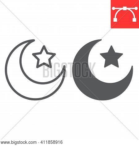 Star And Crescent Line And Glyph Icon, Happy Ramadan And Muslim, Islamic Crescent Vector Icon, Vecto
