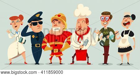 Different Professions Vector Cartoon Set. Doctor, Policeman, Cook, Fireman, Maid And Professional Ph