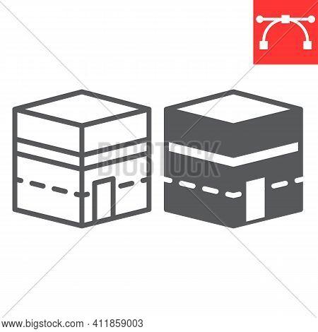 Kaaba Mecca Line And Glyph Icon, Happy Ramadan And Makkah, Mecca Building Vector Icon, Vector Graphi