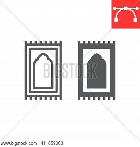 Prayer Rug Line And Glyph Icon, Happy Ramadan And Religion, Prayer Carpet Vector Icon, Vector Graphi