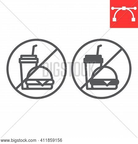 Do Not Eat Line And Glyph Icon, Prohibition And No Eat, No Fast Food Vector Icon, Vector Graphics, E