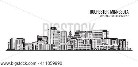 Cityscape Building Abstract Simple Shape And Modern Style Art Vector Design - Rochester City, Minnes