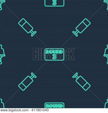 Set Line Boxing Ring Board, Punching Bag And Ringing Bell On Seamless Pattern. Vector