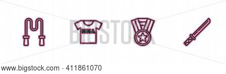 Set Line Jump Rope, Medal, T-shirt With Fight Club Mma And Japanese Katana Icon. Vector