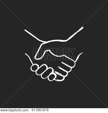 Handshake Chalk White Icon On Black Background. Successful Business Deal. Partnerships. Mutually Ben