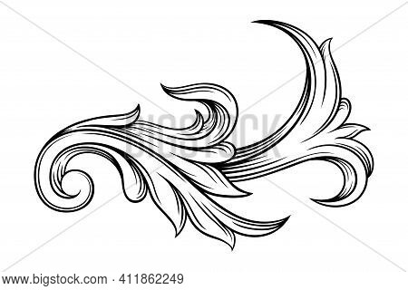 Scroll As Baroque Element With Arabesque And Flourish Motif Vector Illustration