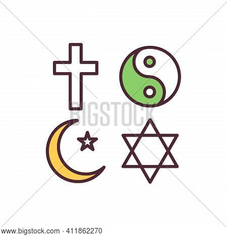 Religion Freedom Rgb Color Icon. Human Rights. Religious Pluralism. Manifesting Religion And Belief