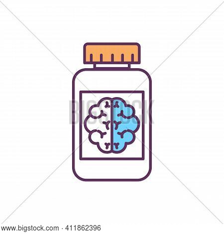 Brain Activity Improvement Rgb Color Icon. Cognitive-boosting Medications. Nootropics. Drugs For Bra