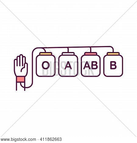 Blood Donation Rgb Color Icon. Voluntarily Blood Drawing. Transfusions. Donating Red Blood Cells And