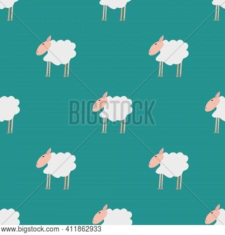 Seamless Vector Pattern With White Sheep On A Green Background. Background For Textiles, Covers, Scr