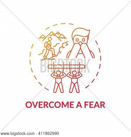 Overcome A Fear Concept Icon. Family Bonding Tips. Afraid Of Changing Lifestyle. Positive Imaginatio