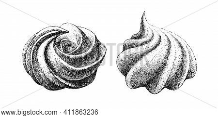 Two Types Of Airy French Meringue, Marshmallow, Zefir. Hand Drawn Vector Illustration In Graphic Vin