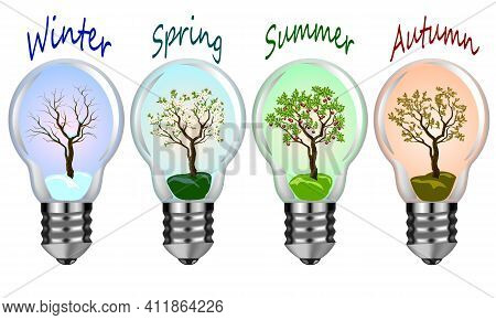Seasons Of Nature In Color Illustration.four Seasons Of Nature In Lighting Lamps.