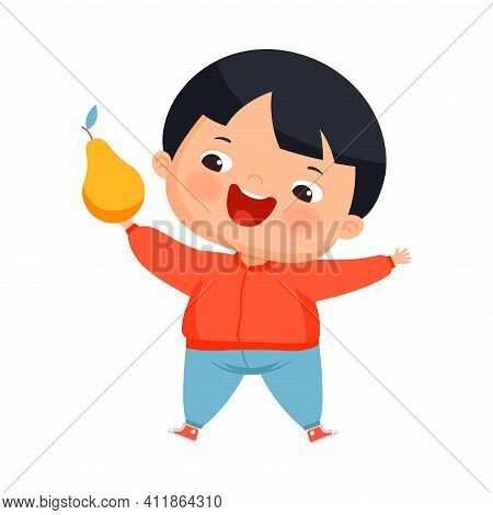 Little Boy With Overweight And Body Fat Holding Pear As Dietary Eating Vector Illustration