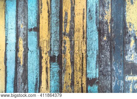 The Vintage Color Wood Background. The Texture Of The Retro Wood Grain Table. Decorated And Colorful