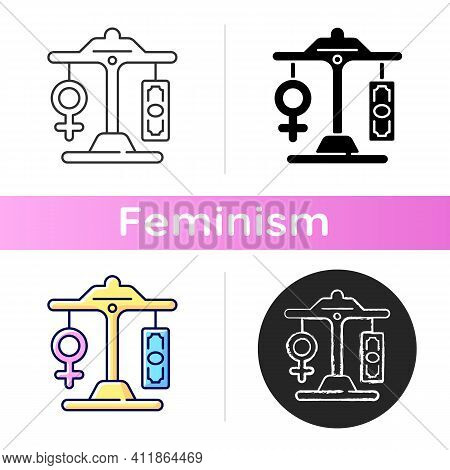Equal Pay Icon. Gender Pay Gap Decrease. Difference Between Male And Female Earnings. Expansion Of T