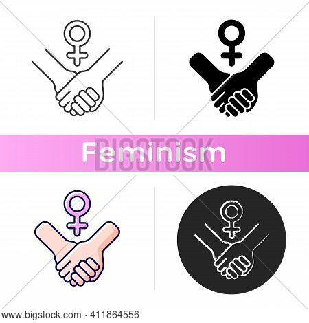 Girl Power Icon. Struggle For Women Rights. Women Cooperation. Motivation Quote. Equalization Of Rig
