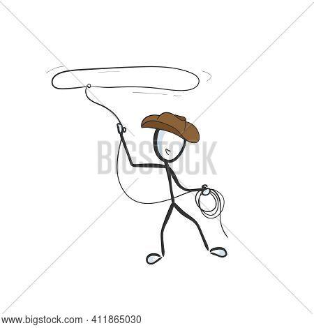 Wild West Cowboy With Rope. Vector Simple Cowboy Loop. Stickman No Face Clipart Cartoon. Hand Drawn.