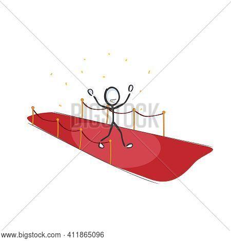 Red Carpet Celebrity Walk. Vector Simple Super Star Vip Person. Stickman No Face Clipart Cartoon. Ha