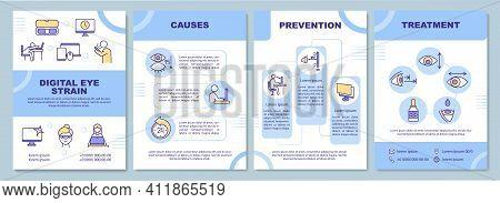 Digital Eye Strain Brochure Template. Illness And Vision Problem. Flyer, Booklet, Leaflet Print, Cov
