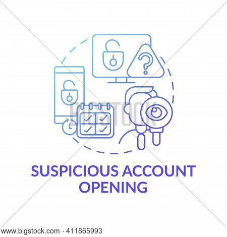 Account Opening Concept Icon. Theft And Scammers Idea Thin Line Illustration. Illegal And Unprotecte