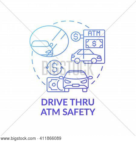 Drive Thru Atm Safety Concept Icon. Automated Teller Machines Idea Thin Line Illustration. Mirrors F