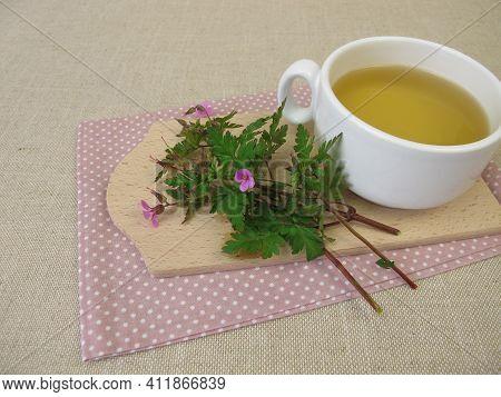 Herbal Tea With Roberts Geranium, Cranesbill, Geranium Robertianum
