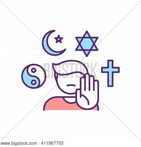 Ahteist Rgb Color Icon. Defy Global Religious Systems. Issue With Spirituality. Crisis Of Faith. Agn