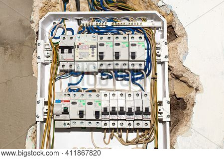 Anapa, Russia-07.11.2020: Electrical Switchboard. A Multifunctional Electricity Control Panel Is Ins