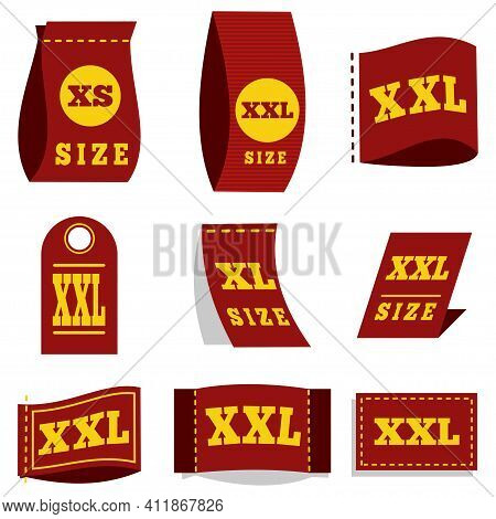 Label Size Tag For Clothes With The Symbol Dimension - Xs, Xl, Xxl. Vector Icons Set Isolated On Whi
