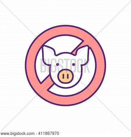 No Pig Rgb Color Icon. Food Restriction, Avoid Pork Meat. Prevent Animal Cruelty. Vegan Meal. Protec