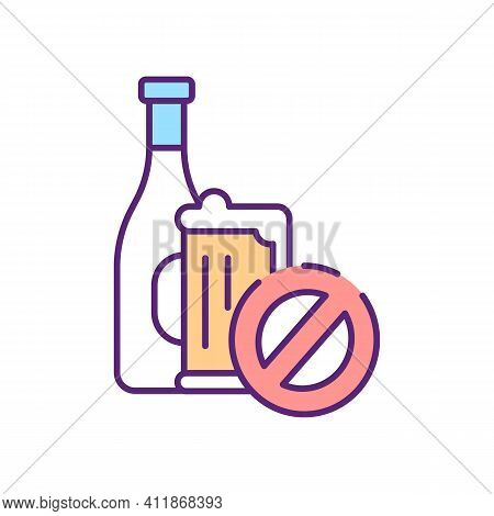 No Alcohol Sign Rgb Color Icon. Prevent Alcoholism. Stop Booze Intake. Forbidden Beverage. No Wine.