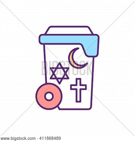 Global Religions Rgb Color Icon. Coexistinig Institutional Belief Systems. Social Freedom And Restic