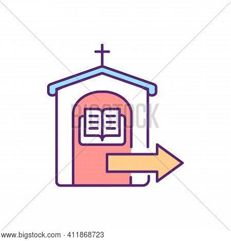 Confessing Sins Rgb Color Icon. Visiting Gospel. Church Service. Sacred Spiritual Ritual. Prayer To