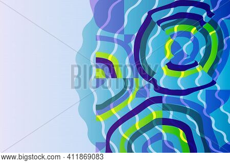 Abstract Background From Geometric Shapes And Circles. Swimming Pool With Blue Water, Ripples And Gl