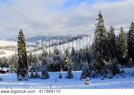 Winter landscape in Carpathian mountains in Ukraine