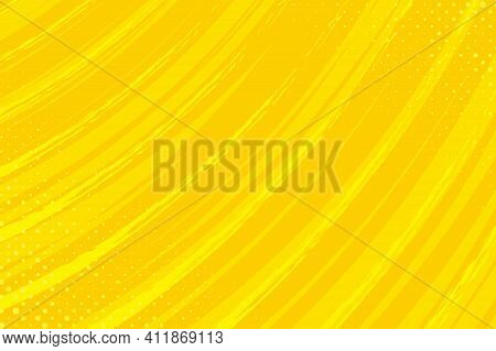 Flat Design Yellow Comics Background With Space For Text. Effect Motion Lines. Template For Design O