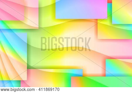 Gradient Geometric Wallpaper. Abstract Background From Geometric Shapes And Squares. Copy Space For