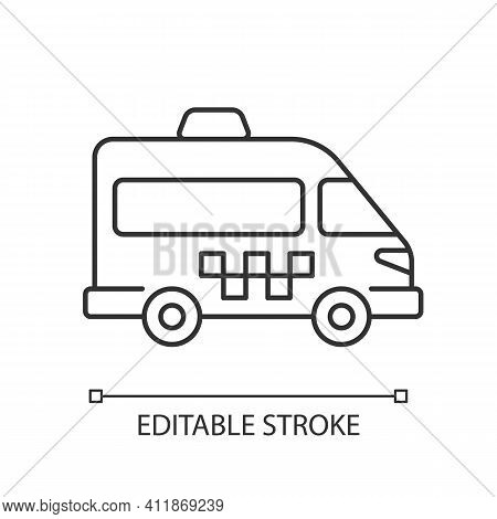 Shuttle Buses Linear Icon. Convenient Means Of Transportation Around The City. Travel By Company. Th