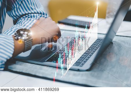 Finance Technology And Investment Concept, Business People Analyze Financial Data Chart Trading Fore