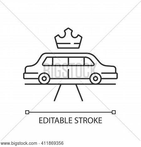 Limousine Service Linear Icon. Transportation Service. Premier Car Using. Luxury Car Rental. Thin Li