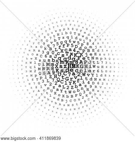 Halftone circle made of black letters and digits on white background, abstract circular illustration