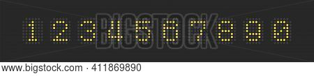 Clock Vector Electronic Led Nuber Collection In Dotted Scoreboard Style Vector Font Typeset Illustra
